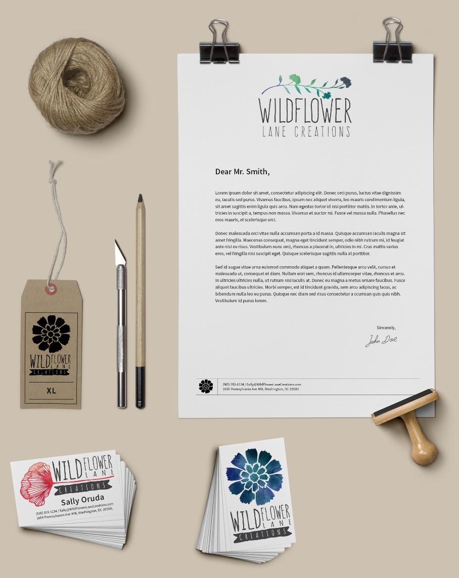 Lucian Marshall - Graphic Design - Wildflower Lane Creations Brand Identity